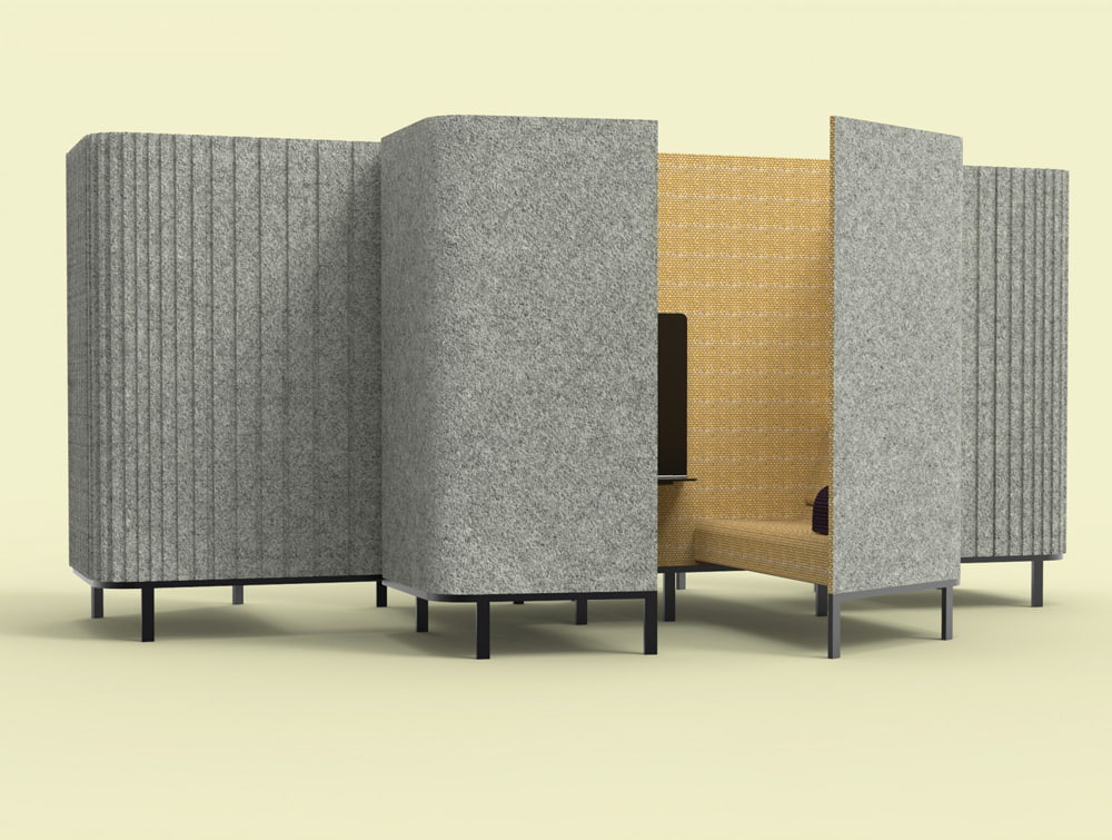 BuzziSpace-Hive-Acoustic-Meeting-Pods-Yellow-Inside-Grey-Outside