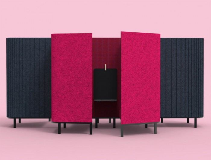 BuzziSpace-Hive-Acoustic-Meeting-Space-Flat-Fuchsia-and-3D-Pattern-Black