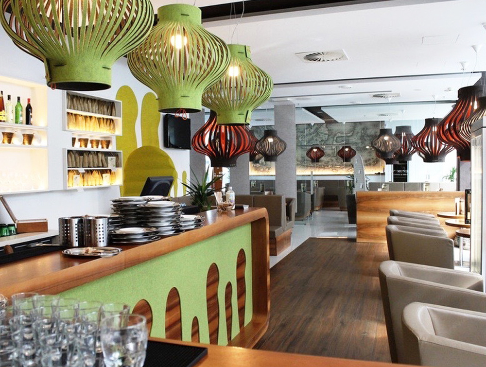 BuzziSpace-Mono-Decorative-Acoustic-Ceiling-Light-Green-Brown-Red-Restaurant