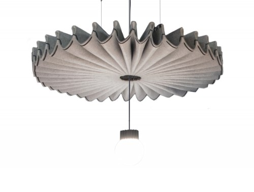 BuzziSpace-Pleat-Ripple-Beige-Acoustic-Pendant-Ceiling-Light