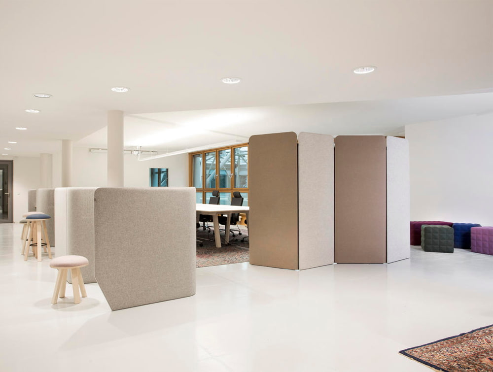 BuzziSpace Screen Large Flexible Freestanding Room Divider in Beige with BuzziVille in Office Space
