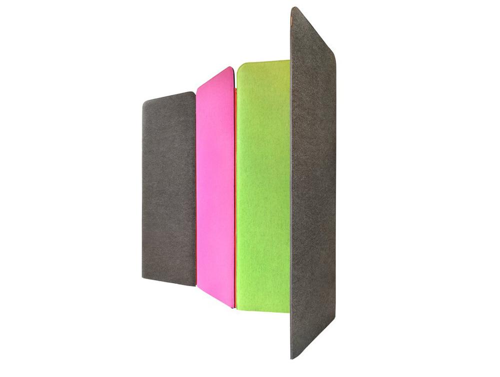 BuzziSpace Screen Modular Freestanding Acoustical Partition Pink Green Grey