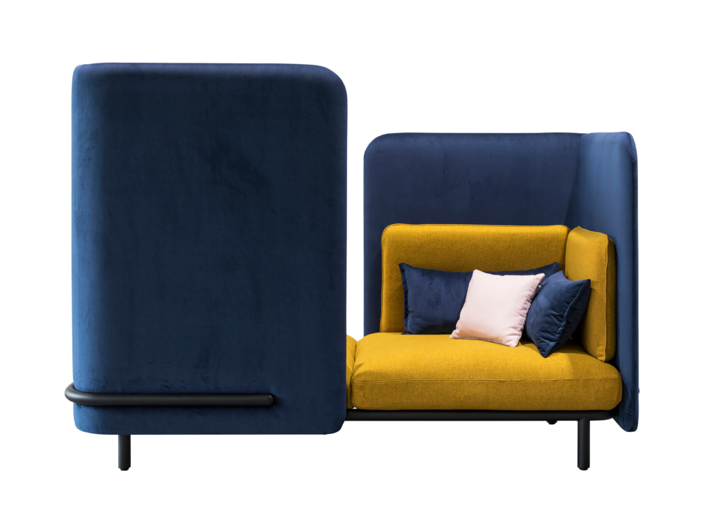BuzziSpark-Acoustic-2-Seat-Relaxation-Pod-Blue-and-Yellow-with-Cushion