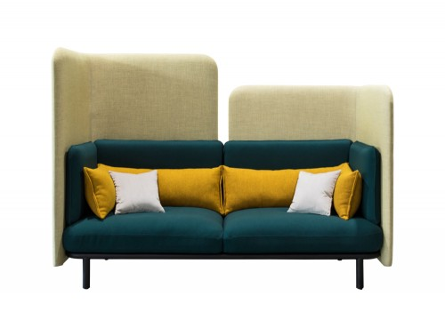 BuzziSpark-Acoustic-2-Seater-Lounge-Comfy-Sofa-Green-with-Cushion-Yellow-and-Grey