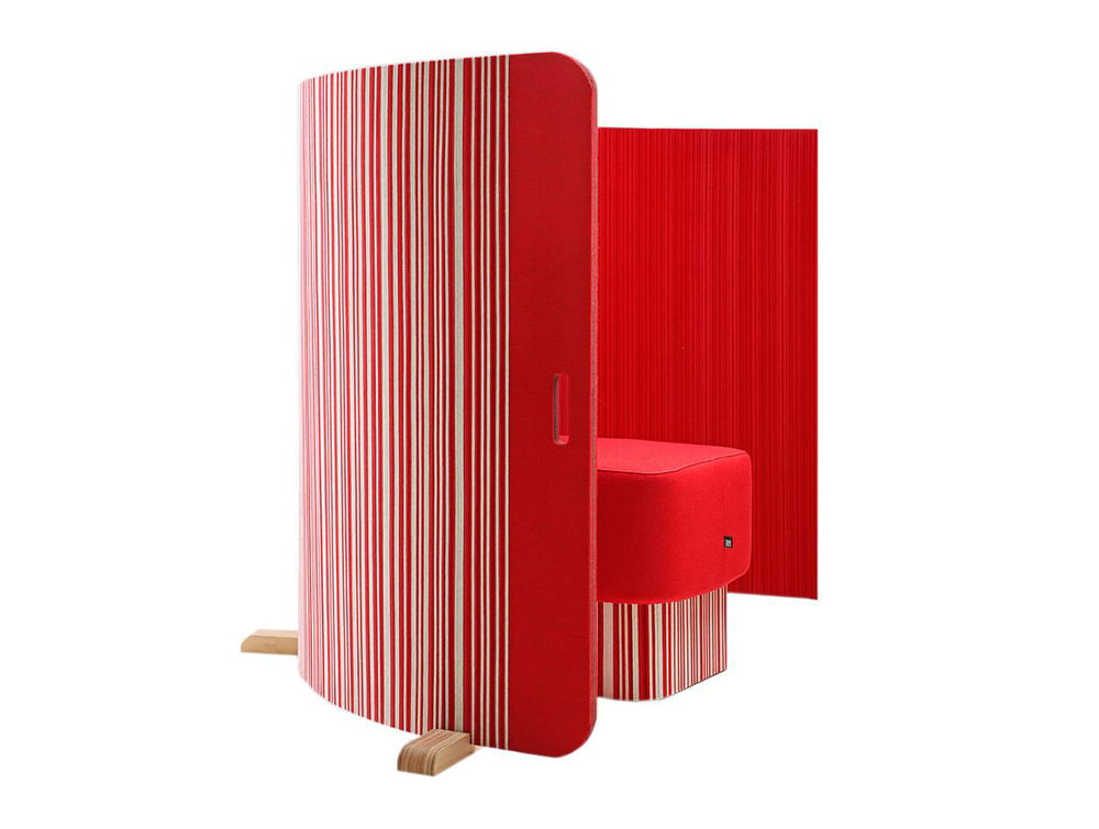 BuzziTwist Curved Acoustic Room Divider Bicolor with Pouffe