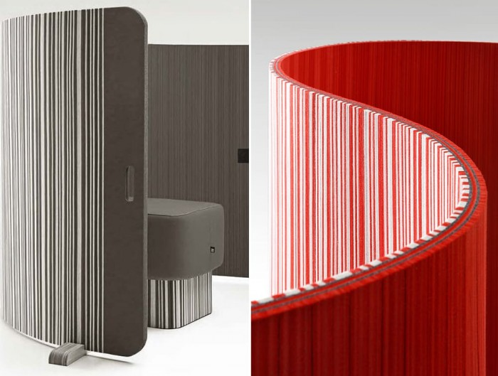 BuzziTwist Curved Acoustic Room Partition Bicolor Grey Red White