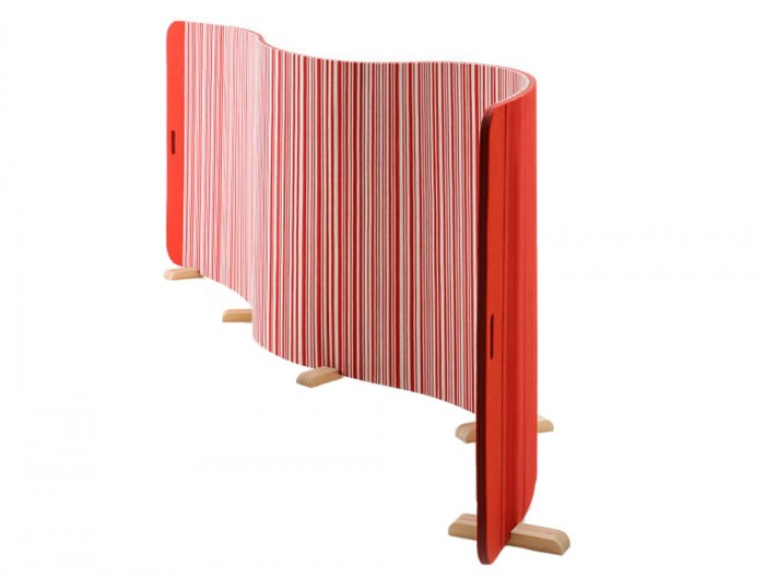 BuzziTwist Curved Acoustic Room Partition in Red