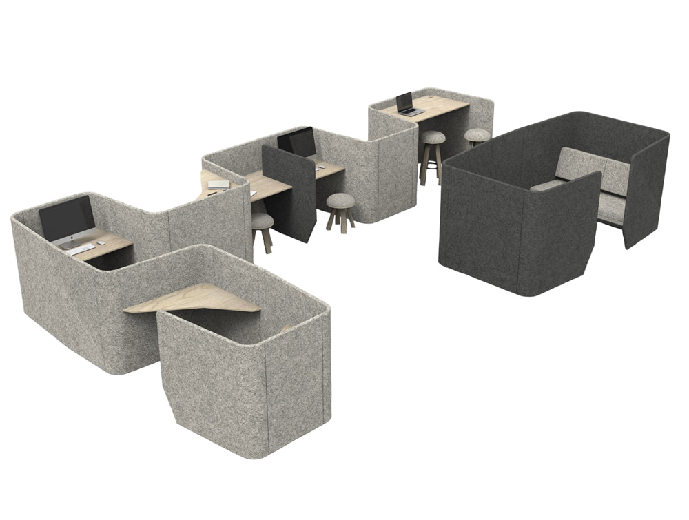 BuzziVille-Modular-Freestanding-Acoustic-Configurations-Grey-with-Workstation-Sofa-Club-Stool
