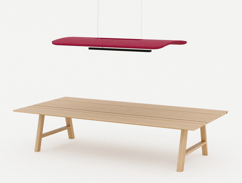 BuzziZepp-Acoustic-Panel-Ceiling-Light-Fuchsia-with-Beech-Table