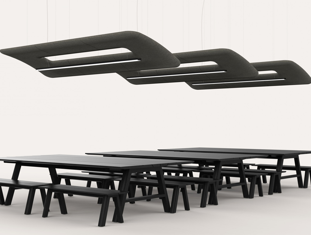 BuzziZepp-Acoustic-Panel-Ceiling-Light-Slanted-Above-Black-Table