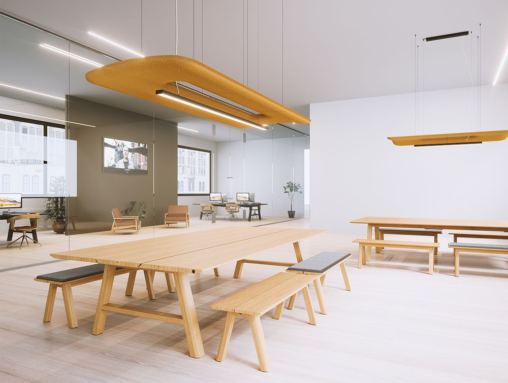 BuzziZepp-Acoustic-Panel-Ceiling-Light-Yellow-Medium-in-Communal-Space-Beech-Table