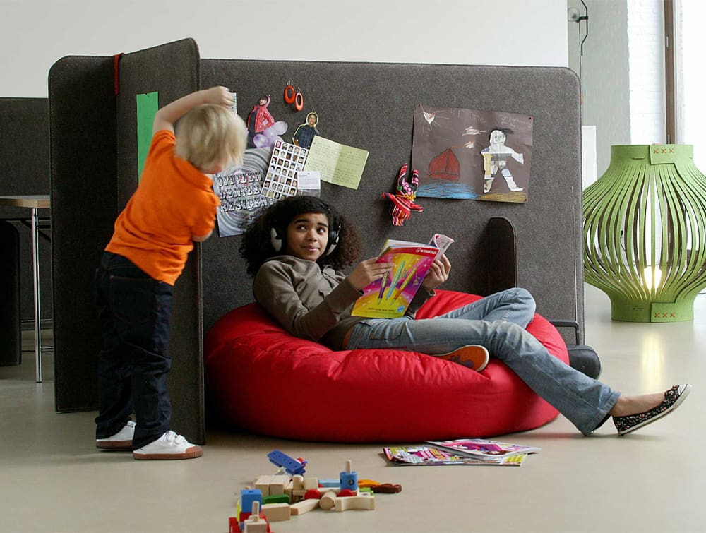 BuzziZone Acoustic Freestanding Panels Kids Corner with Tackable Surface Pin Memos Images Notes and BuzziLight Mono