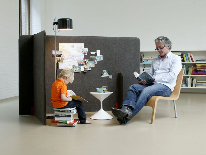 BuzziZone Acoustic Freestanding Screen Quiet Reqding Nook in Grey Home Office