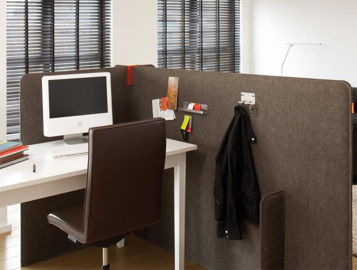 BuzziZone Acoustic Freestanding Work Area with White Desk and Hook