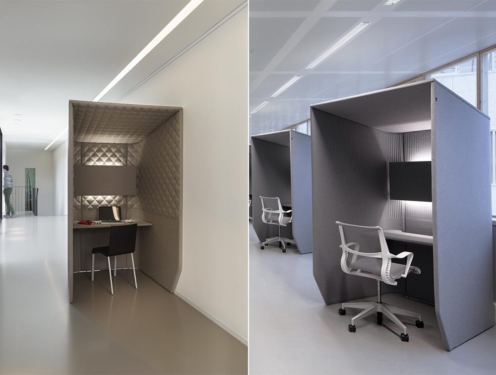 Buzzibooth-Single-Acoustic-Workstation-Pod-in-Office-and-Corridor-with-Ergonomic-Chair-and-Lighting