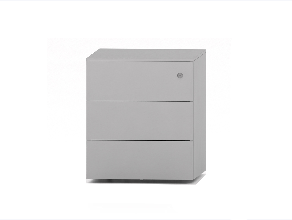 CUBE Low Steel Pedestal 3 Drawers 500 x 410 x 495 mm white PMS 4530 SV