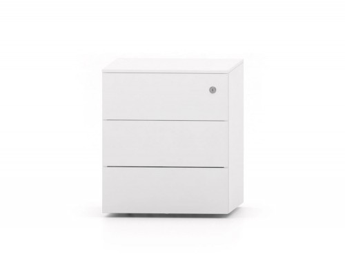 CUBE Low Steel Pedestal 3 Drawers 500 x 410 x 495 mm white PMS4530-WH