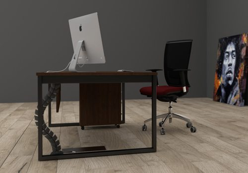 Cable Managed Executive Desk with Black Cable Spine