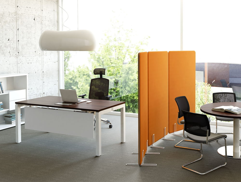 Canoe Ceiling Light Above Office Desk Executive Chair Orange Freestanding Panel Round Meeting Table