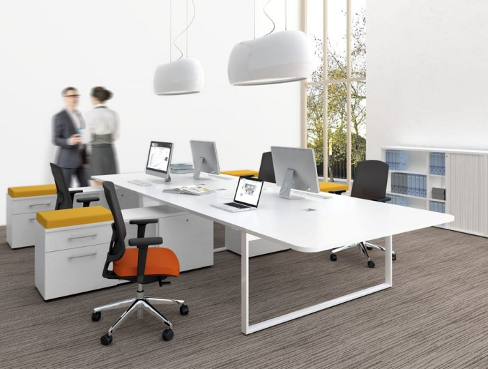 Canoe Ceiling Light Open Office Space with Ergonomic Chair Pedestral and Storage White Furniture