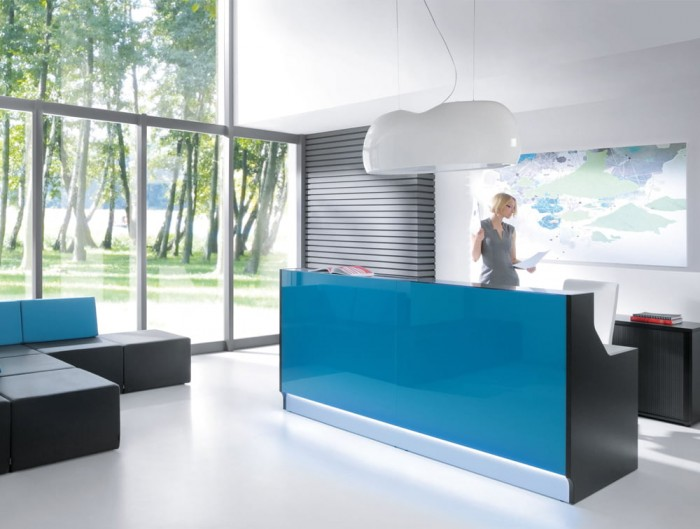 Canoe Ceiling Lights for Office Reception Area with Desk Storage and Seating Area Sofas