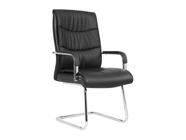 Carter Black Luxury Faux Leather Cantilever Chair With Arms Featured Image