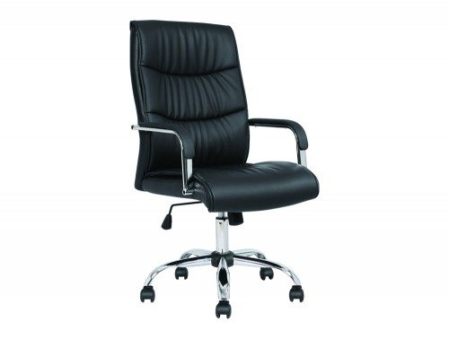 Carter Black Luxury Faux Leather Chair With Arms Image 1