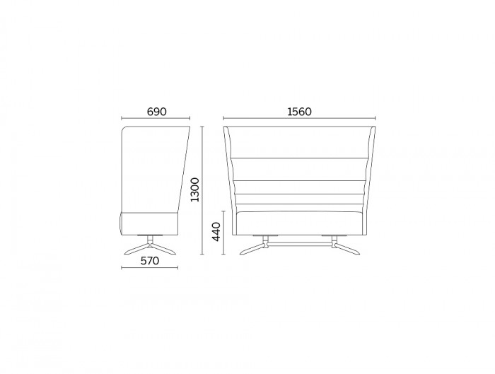 Cell128 2-Seater Sofa with 4 Spoke Steel Base Dimensions.jpg