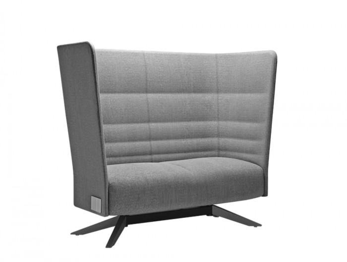 Cell128 2-Seater Sofa with Steel Base and 4 Spokes in Wood