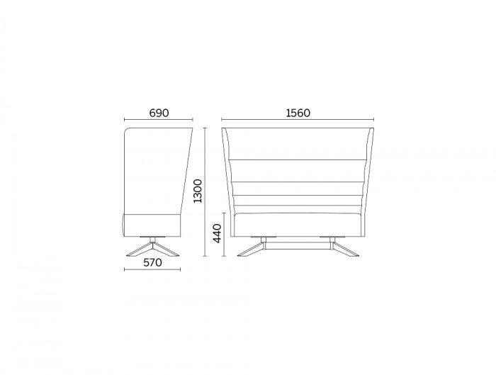 Cell128 2-Seater Sofa with Steel Base and 4 Spokes in Wood Dimensions.jpg
