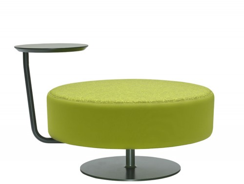 CellDot Pouf with Round Steel Central Base and Swivelling Tablet
