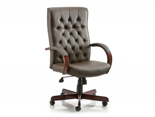 Chesterfield Executive Chair Brown Leather With Arms Featured Image