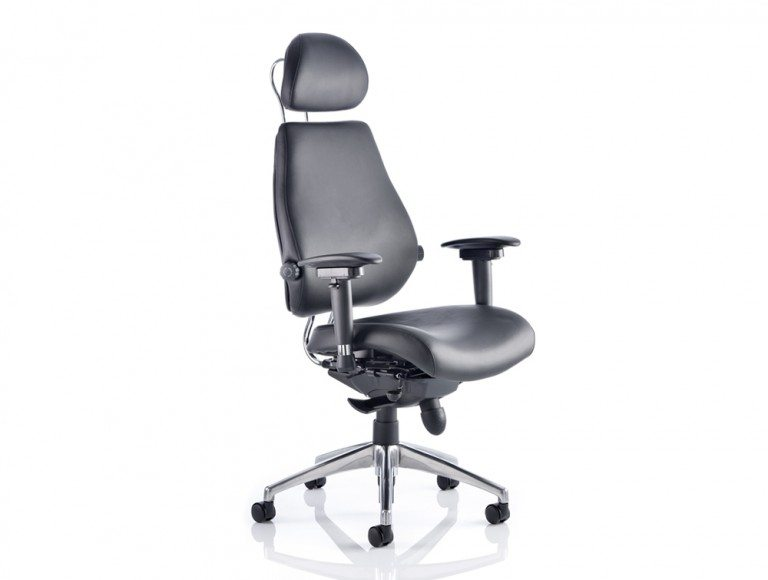 Chiro Plus Ultimate Black Leather With Arms With Headrest Featured Image