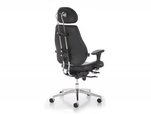Chiro Plus Ultimate Black Leather With Arms With Headrest Image 2