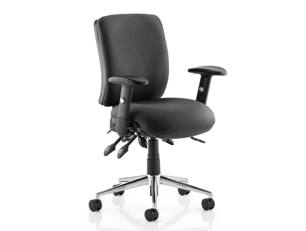 Chiro Task Operators Chair Black With Arms Medium Back Image 2