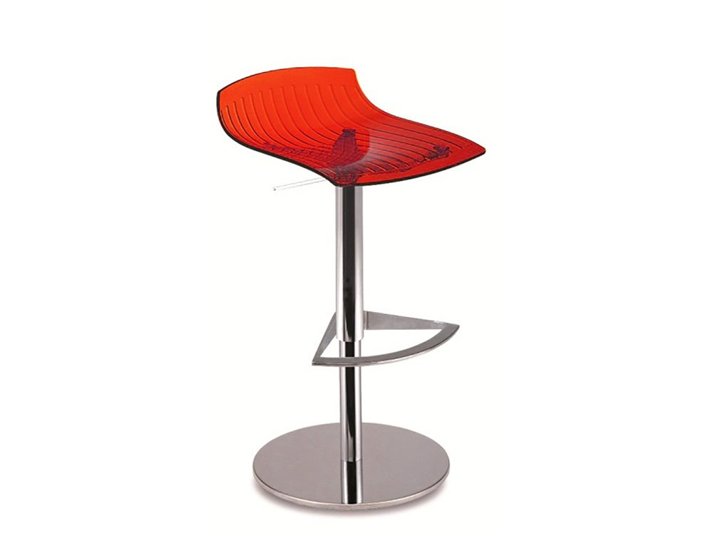 City Translucent Height Adjustable Stool - Red