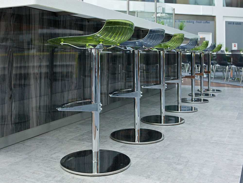 City Translucent Height Adjustable Stools in Blue and Green