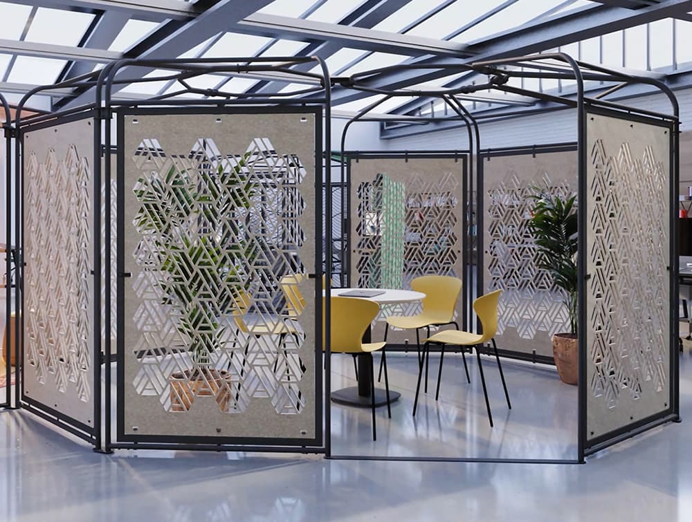 Colony-Freestanding-Socialising_Meeting-Hub-Configuration-5-with-Yellow-Chairs-and-Table-New