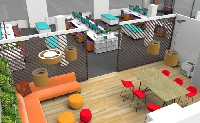 Colourful Breaktout Area and Open Plan Office
