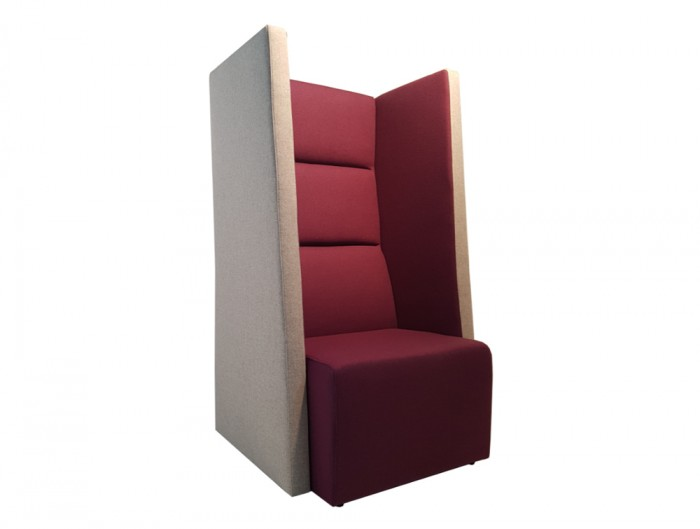 Converse High Back Acoustic Individual Seating Pod in Beige and Burgundy