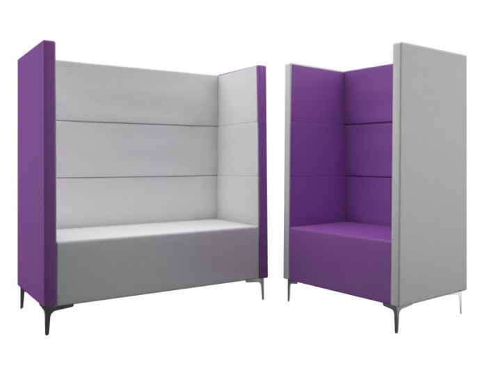Converse High Back Acoustic Seating Pod Bicolour Purple and Grey One or Two Seater