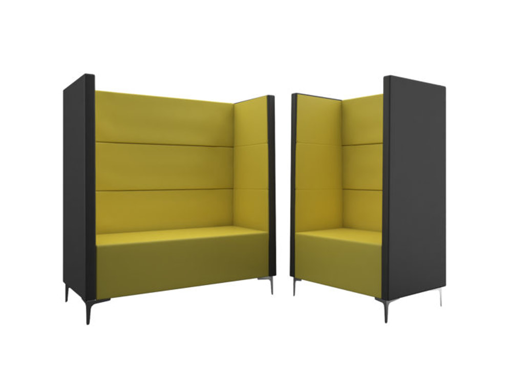 Converse High Back Acoustic Seating Pod Two Tone Yellow and Grey