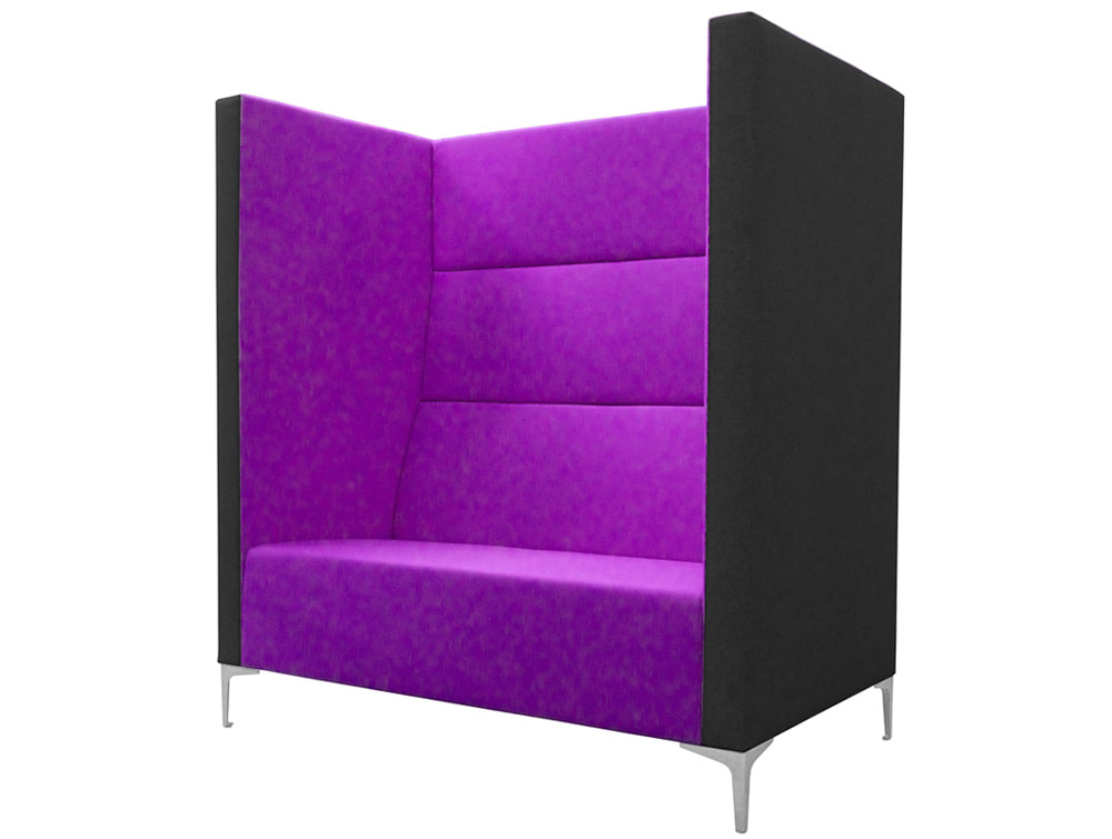 Converse High Back Acoustic Seating Pod for Breakout Area in Purple and Black Two Seat