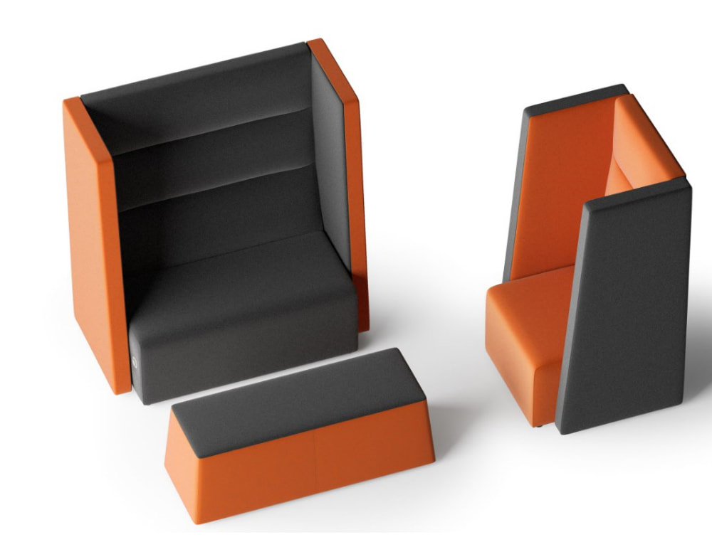 Converse High Back Acoustic Seating Pod for One or Two Person with Pouffe Orange and Grey Colour Style