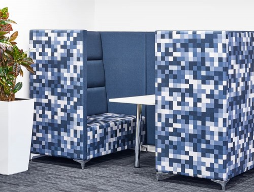 Converse High Back Acoustic Seating Pod for Reception Area in Blue