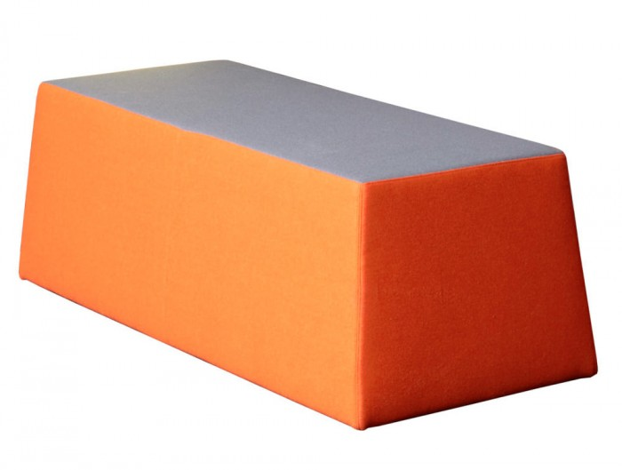 Converse High Back Acoustic Seating Pod for Two Pouffe in Orange and Grey