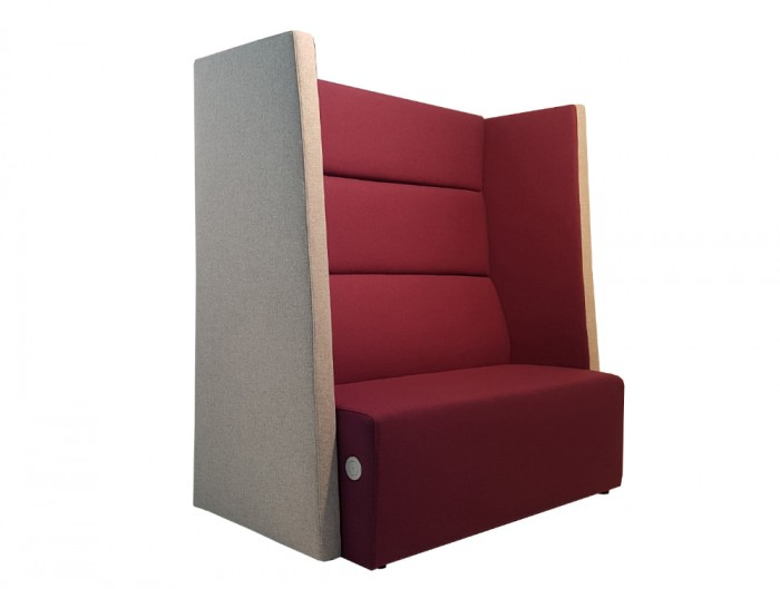 Converse High Back Acoustic Seating Pod in Burgundy and Beige