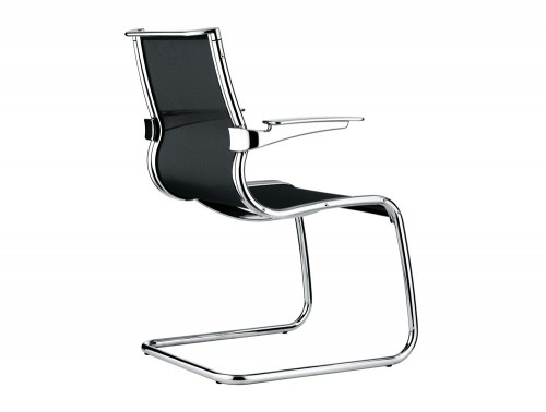 Corvus swivel cantilever armchair in low back view from back