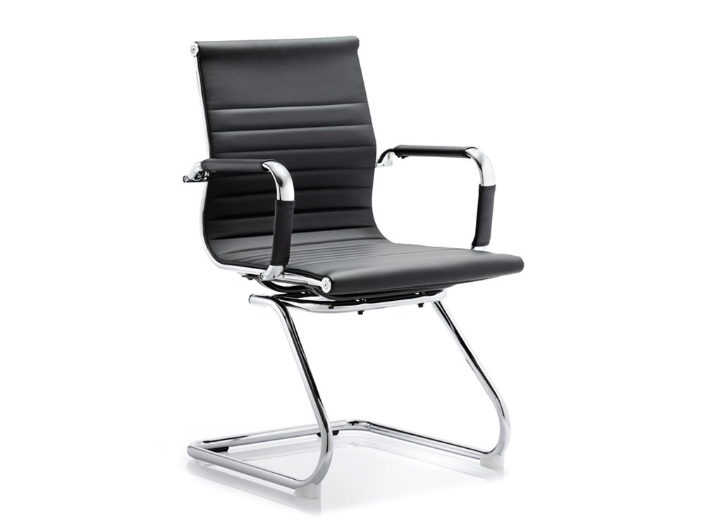 Cross Cantilever Executive Black Faux Leather Chair With Arms Featured Image