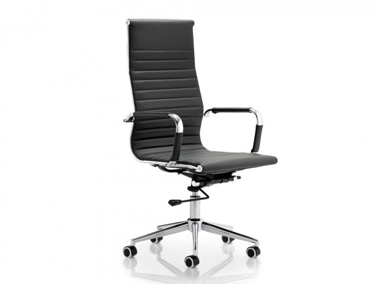 Cross High Back Executive Black Faux Leather Chair With Arms Featured Image